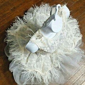 Revolution Dancewear Adult Large Gray & White Lace